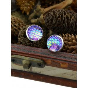 Round Mermaid Scales Stud Tiny Earrings - PURPLE