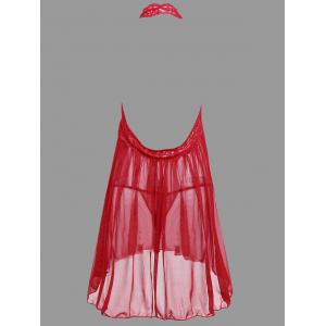 Plunge Lace Backless Sheer Babydoll - RED M