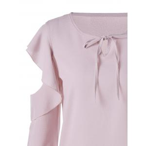 Chiffon Flounced Cold Shoulder Blouse - PINK XL