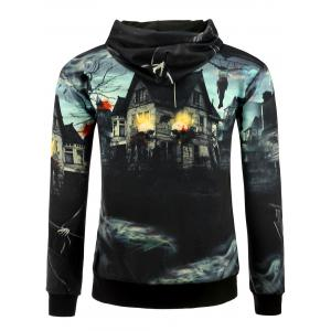 3D Death Haunted House Halloween Hoodie - COLORMIX M