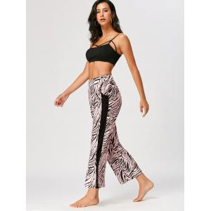 High Waist Tiger Stripe Casual Ninth Pants - COLORMIX M