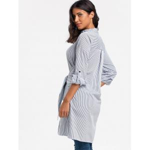 Striped V Neck Tie Up Shirt Dress -