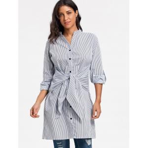Striped V Neck Tie Up Shirt Dress - STRIPE XL