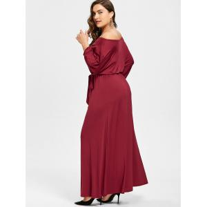 Plus Size Belted Off The Shoulder Maxi Dress - WINE RED 4XL