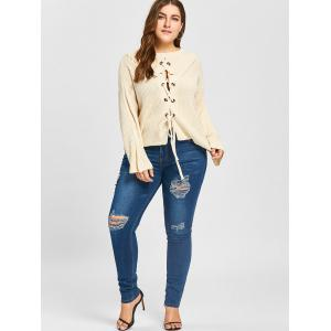 Plus Size Drop Shoulder Lace Up Chunky Sweater - OFF-WHITE ONE SIZE