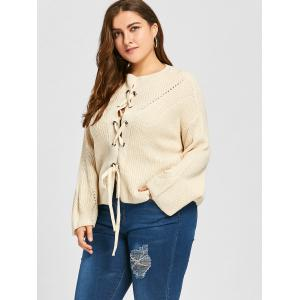 Plus Size Drop Shoulder Lace Up Chunky Sweater -