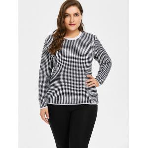Plus Size Checked Graphic Knitwear - BLACK 3XL