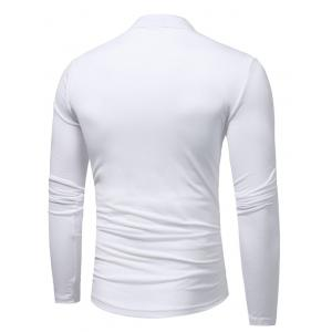 Long Sleeve Color Block Lace Up T-shirt - WHITE 3XL