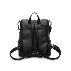 Badge Braided Faux Leather Backpack - BLACK