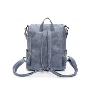 Badge Braided Faux Leather Backpack - BLUE