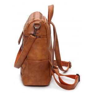 Badge Braided Faux Leather Backpack -