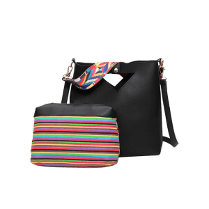 Striped Hollow Out Rainbow Crossbody Bag Set -