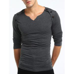 Buttons Embellished V Neck T-shirt - DEEP GRAY 3XL