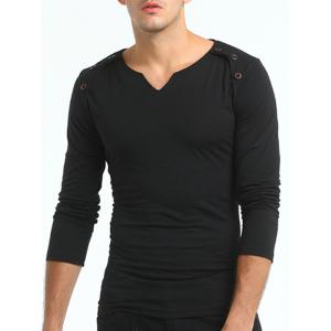 Buttons Embellished V Neck T-shirt - BLACK 3XL
