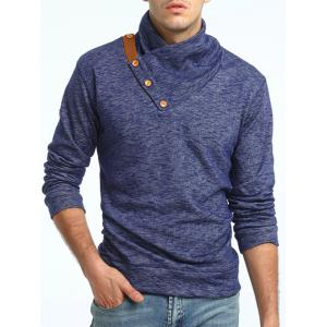 Shawl Collar Knit Blends Pullover Hoodie - CADETBLUE 3XL