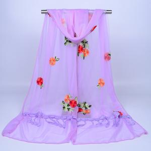 Lace Fringe Floral Embrodiery Shawl Scarf - LIGHT PURPLE