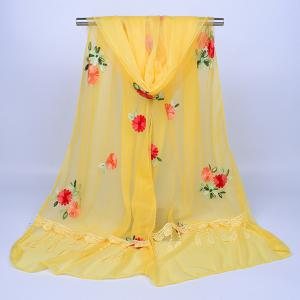 Lace Fringe Floral Embrodiery Shawl Scarf - LIGHT YELLOW