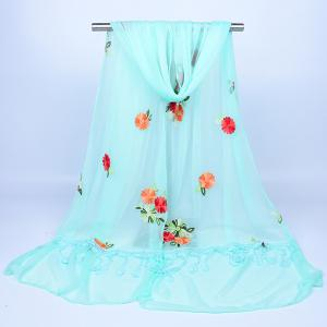 Lace Fringe Floral Embrodiery Shawl Scarf -