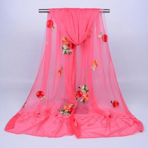 Lace Fringe Floral Embrodiery Shawl Scarf - WATERMELON RED