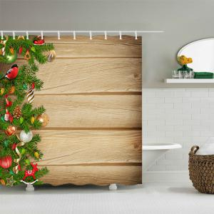 Christmas Tree Woodgrain Print Fabric Waterproof Bathroom Shower Curtain - WOOD W59 INCH * L71 INCH