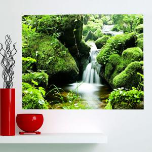 Waterproof Mountain Stream Patterned Wall Art Painting - GREEN 1PC:24*35 INCH( NO FRAME )
