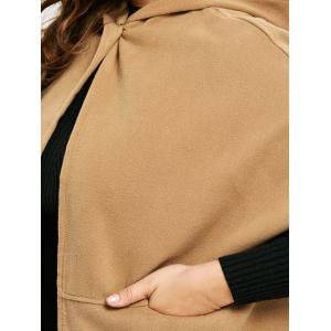 Plus Size Hooded Faux Suede Poncho Coat - CAMEL 4XL
