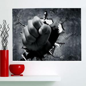 Multifunction Breaking Wall Fist Removable Wall Art Painting - GRAY 24 X 36 INCH