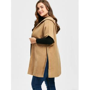 Plus Size Hooded Faux Suede Poncho Coat -