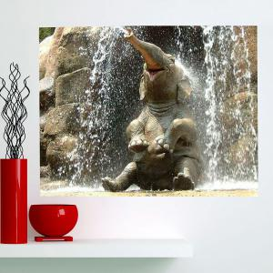 Multifunction Spray Elephant Patterned Stick-on Wall Art Painting - GRAY 1PC:24*35 INCH( NO FRAME )