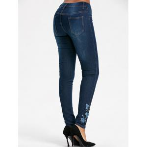 Floral Embroidered Skinny High Waisted Jeans - BLUE XL