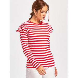 T-shirt à manches longues Embellished Ruffle - Rouge S