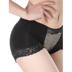Lingerie Panties with Lace Trim - BLACK ONE SIZE