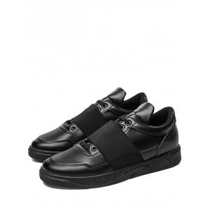 Elastic Band PU Leather Casual Shoes - BLACK 44