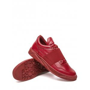 Elastic Band PU Leather Casual Shoes - RED 42