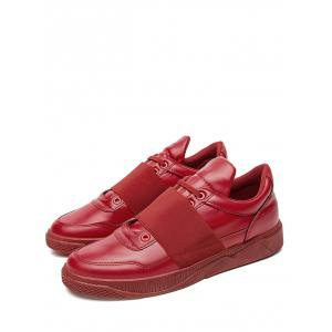 Elastic Band PU Leather Casual Shoes - RED 40