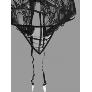 Lace See Thru Cami Garter Set - BLACK XL
