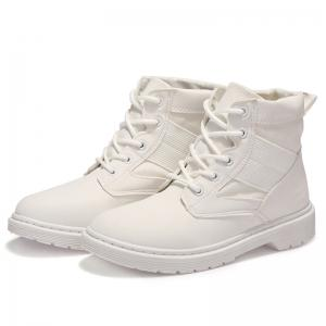 Stitching Splicing Ankle Boots - WHITE 36