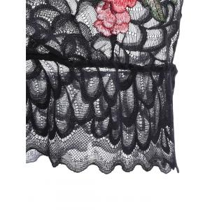 Scalloped Lace Embroidered Bralette - BLACK XL