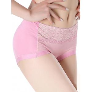 Mesh Panel Lingerie Panties - PINK ONE SIZE