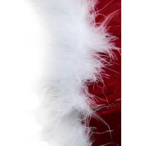 Velvet Christmas Corset Top with Faux Fur Hem - RED S