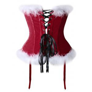 Velvet Christmas Corset Top with Faux Fur Hem -