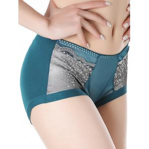 Lace Panel Full Coverage Panties - BLACKISH GREEN ONE SIZE