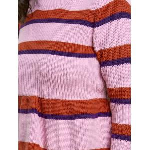 Striped Crew Neck Peplum Sweater - COLORMIX ONE SIZE
