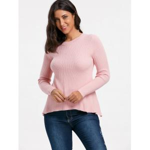 Ribbed Back Slit Sweater - PINK S