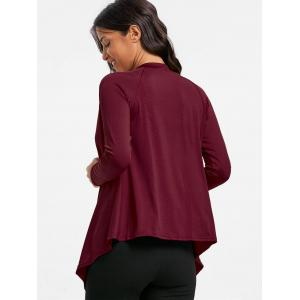 Draped Asymmetrical Open Front Cardigan - WINE RED M