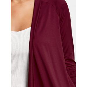Draped Asymmetrical Open Front Cardigan - WINE RED L