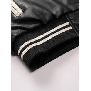 Graphic Embroidered PU Leather Baseball Jacket - WHITE M