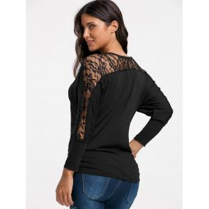 Batwing Sleeve Lace Insert Top - BLACK S