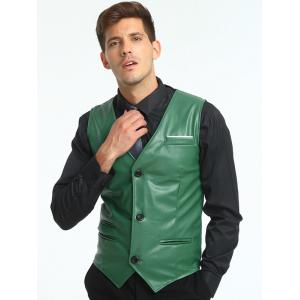 Edging Belt Design PU Leather Waistcoat - GREEN L