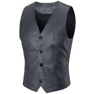 Slim Fit Three-piece Business Suit - SILVER XL